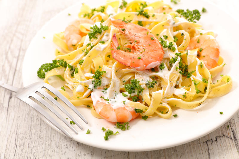 Tagliatelle with shrimp stock photography