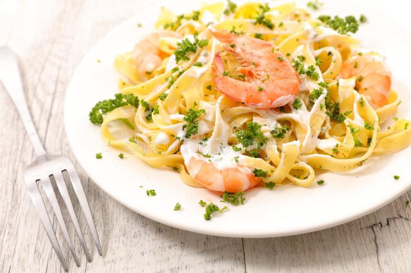 Tagliatelle with shrimp royalty free stock photography