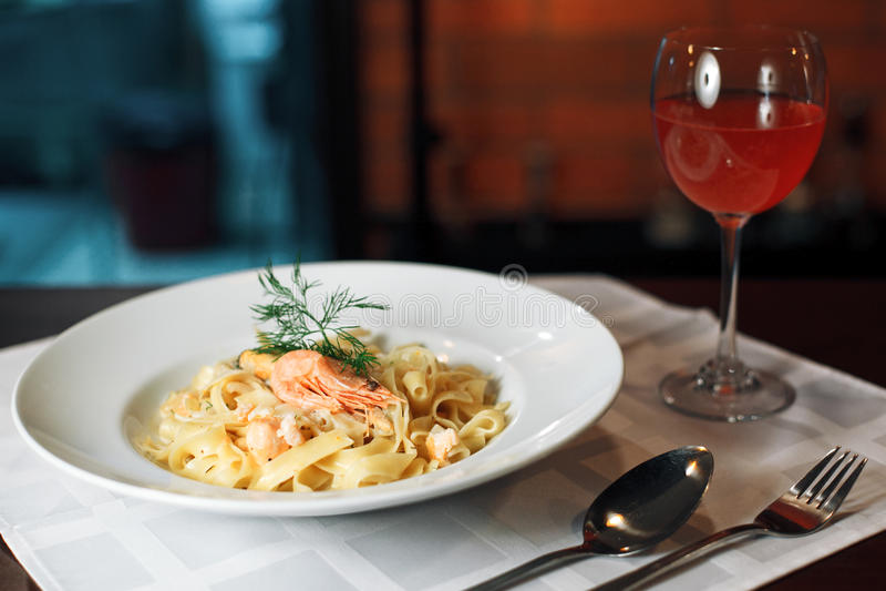 Tagliatelle with shrimp royalty free stock photos