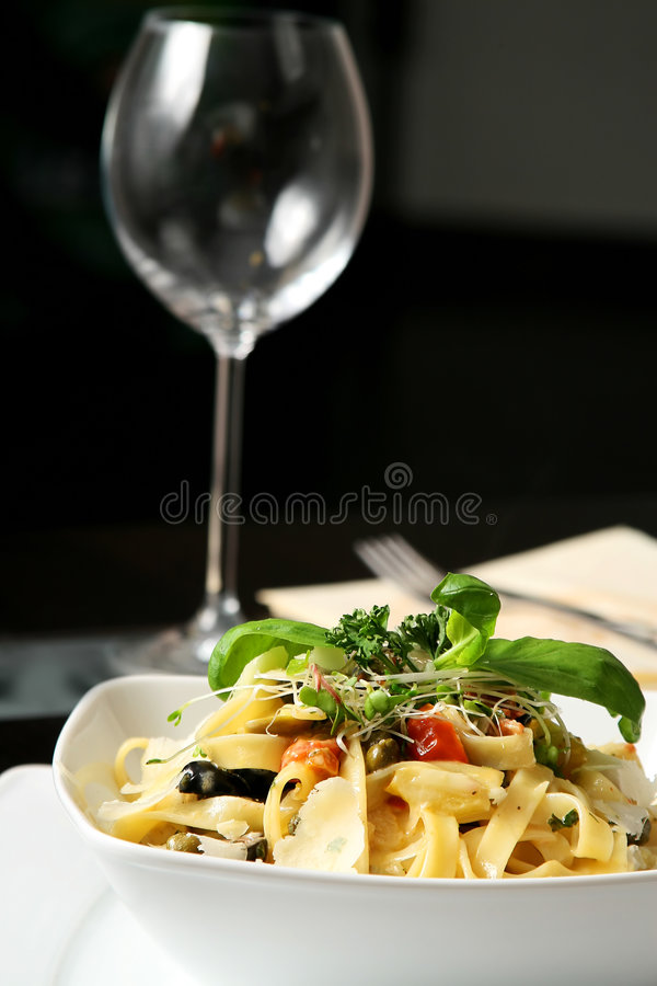 Tagliatelle on table stock image