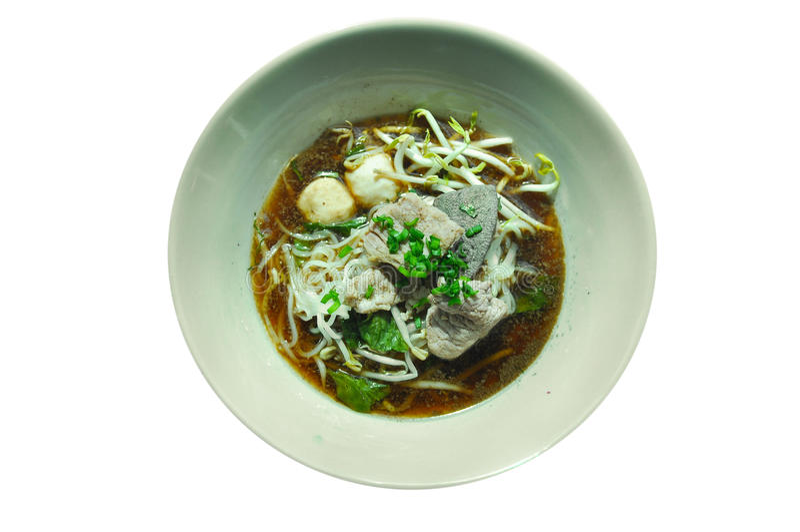 Tagliatelle tailandesi della carne di maiale fotografia stock