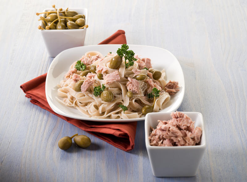 Download Tagliatelle With Tuna And Capers Stock Photo - Image of fish, freshness: 22599614