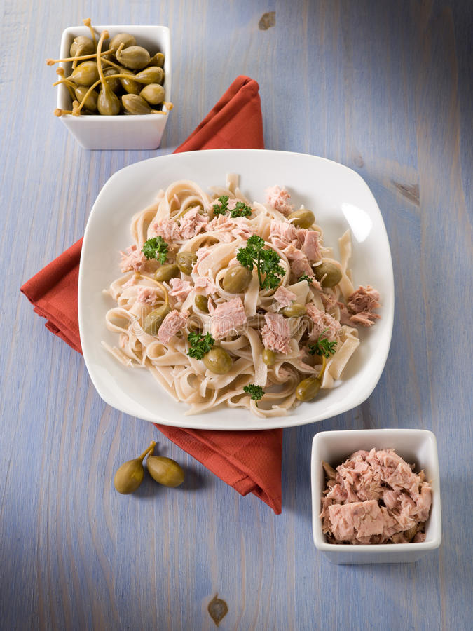 Tagliatelle With Tuna And Capers Stock Images