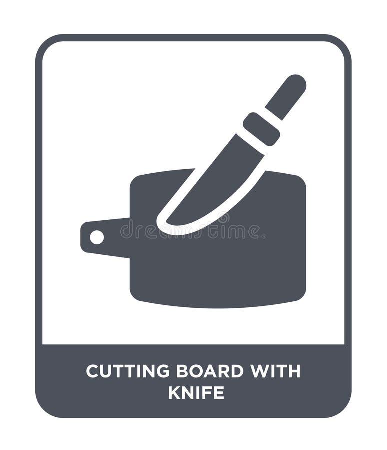 tagliere con l'icona del coltello nello stile d'avanguardia di progettazione tagliere con l'icona del coltello isolata su fondo b illustrazione vettoriale