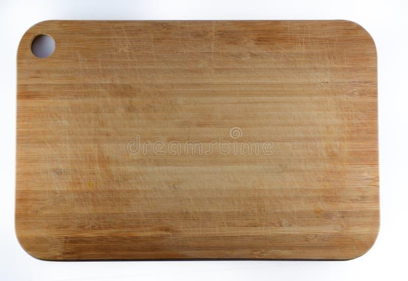 Tagliere di bambù che ha graffi fotografia stock