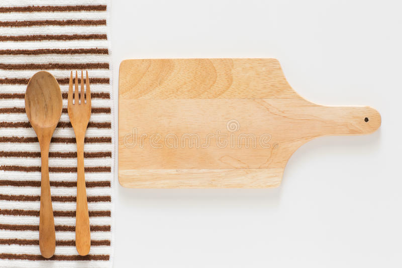 Tagliere e forcella di legno fotografie stock