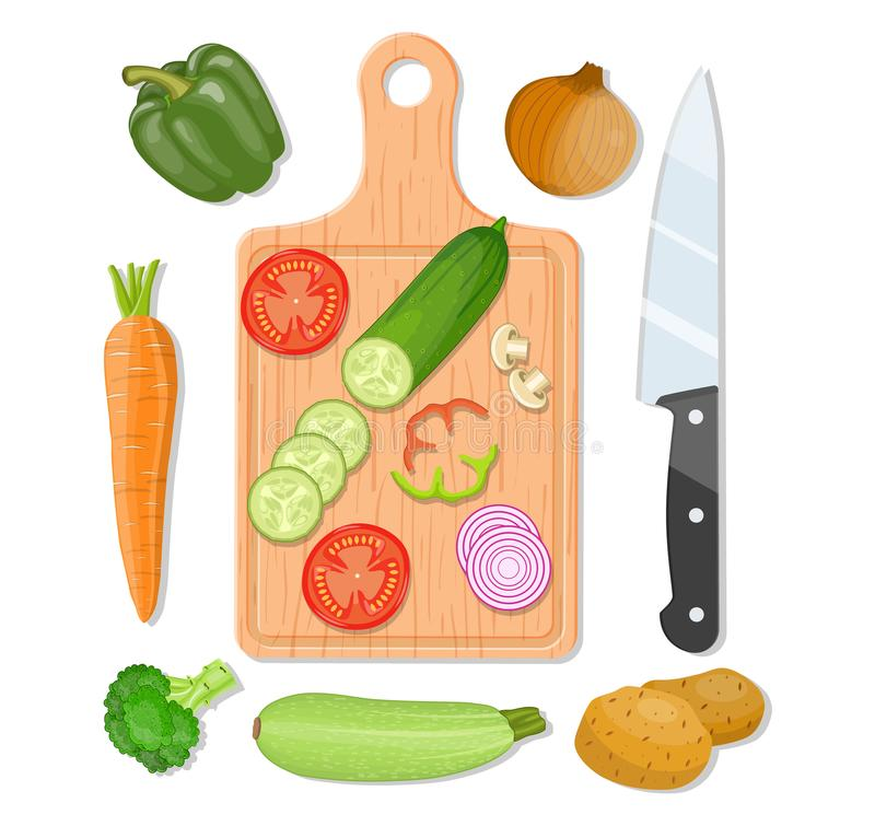 Tagliere e verdure illustrazione di stock