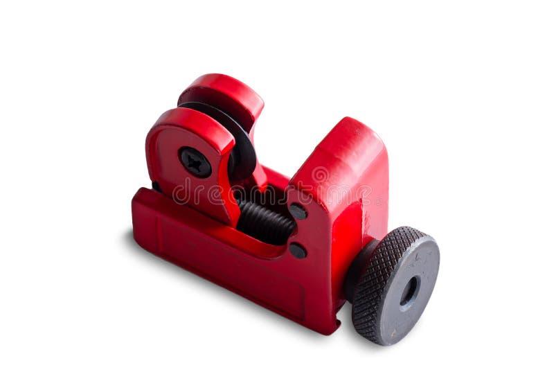 Taglierina di tubo rossa isolata del metallo su bianco fotografia stock libera da diritti