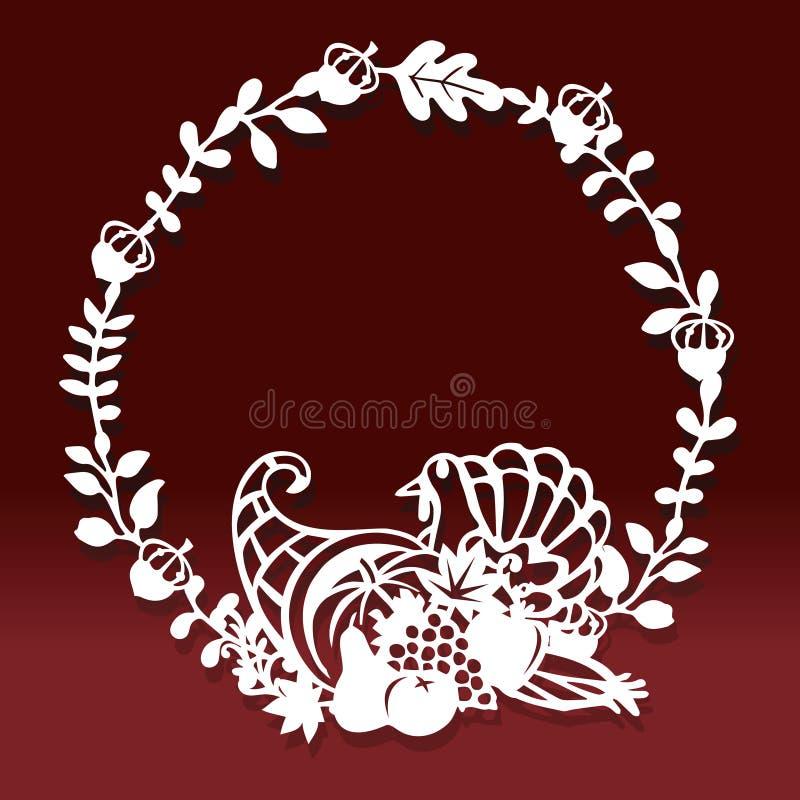 Taglio d'annata della carta della corona della decorazione della cornucopia di caduta di ringraziamento royalty illustrazione gratis