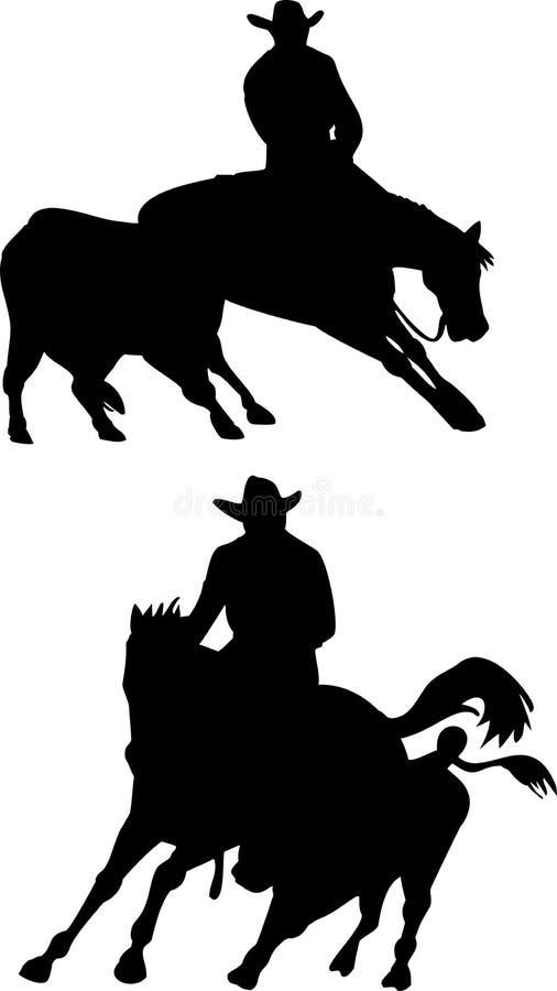 Taglio del cavallo del cowboy del rodeo royalty illustrazione gratis