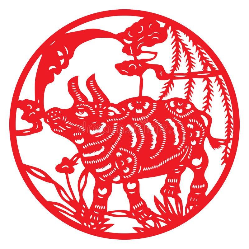 Taglio del documento cinese illustrazione vettoriale