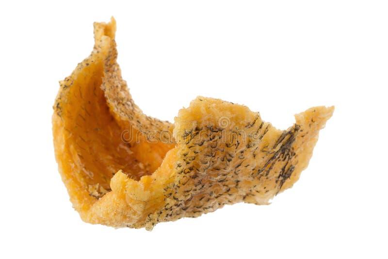 Taglio del muscolo pettorale di Fried Trichogaster in frittura per croccante, alimento tailandese della fetta del pesce isolato s fotografie stock libere da diritti