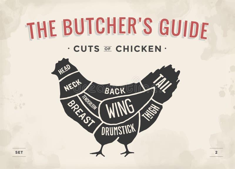 Taglio dell'insieme della carne Diagramma del macellaio del manifesto e schema - pollo Disegnato a mano tipografico d'annata Illu illustrazione di stock