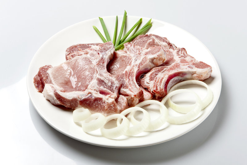 Taglio della bistecca o del lombo del porco fotografia stock