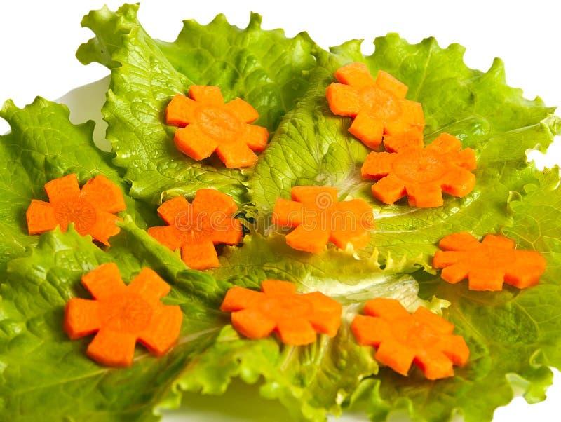 Taglio della carota e della lattuga. fotografia stock