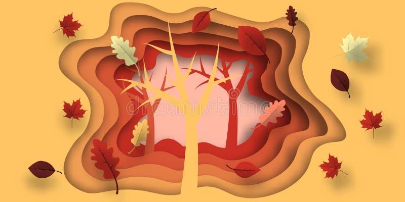 Taglio della carta di autunno con le foglie e l'albero Fondo astratto con le forme nei colori gialli, arancio, porpora Progettazi illustrazione di stock