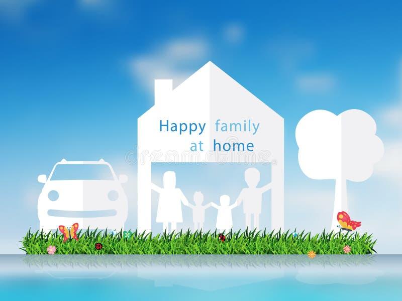 Taglio della carta di vettore della famiglia felice con la casa illustrazione vettoriale