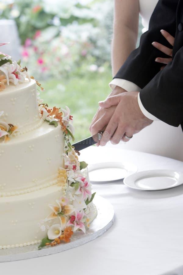 Taglio della torta fotografia stock