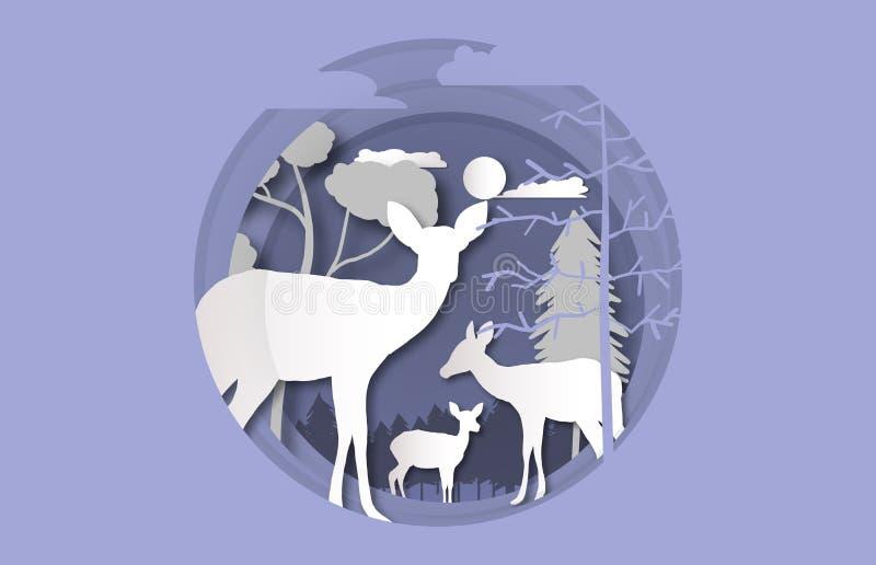 Taglio di carta della famiglia dei cervi nell'inverno illustrazione vettoriale