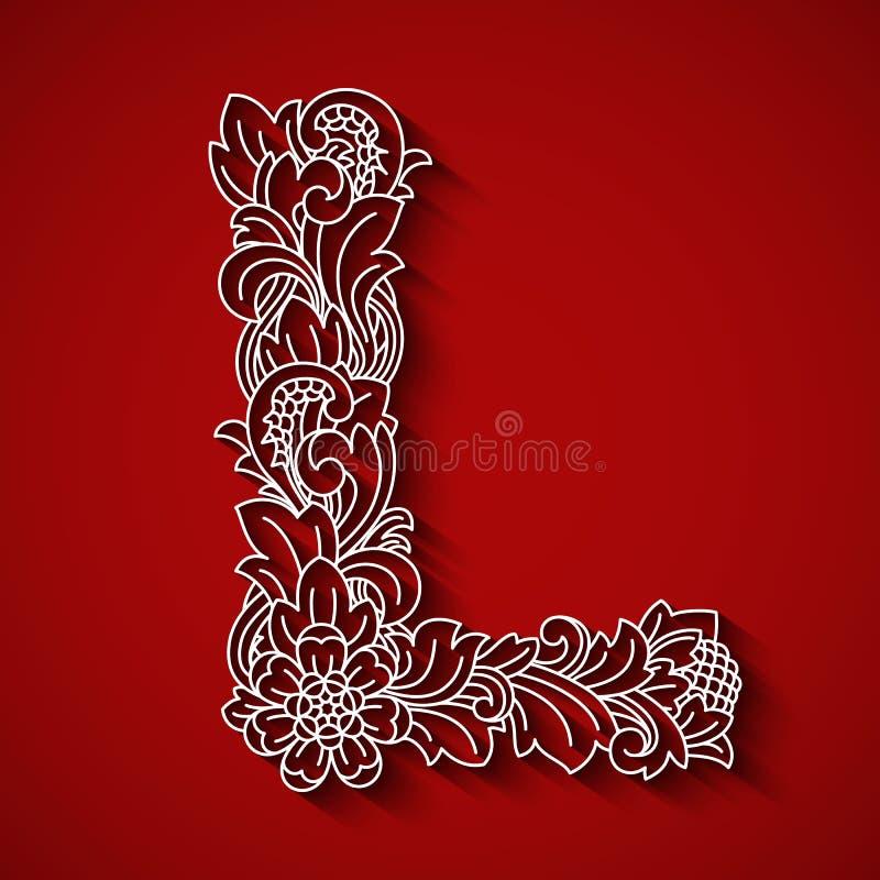 Taglio di carta, lettera bianca L Fondo rosso Ornamento floreale, stile tradizionale di balinese royalty illustrazione gratis