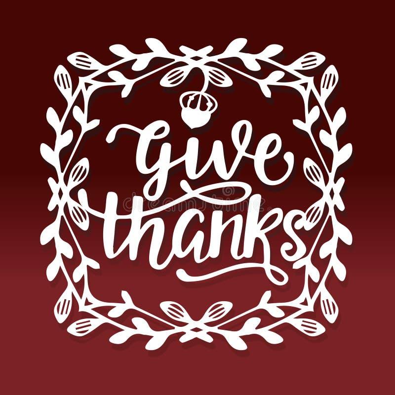 Taglio di carta di ringraziamento della vite della struttura del confine di ringraziamenti d'annata di elasticità royalty illustrazione gratis