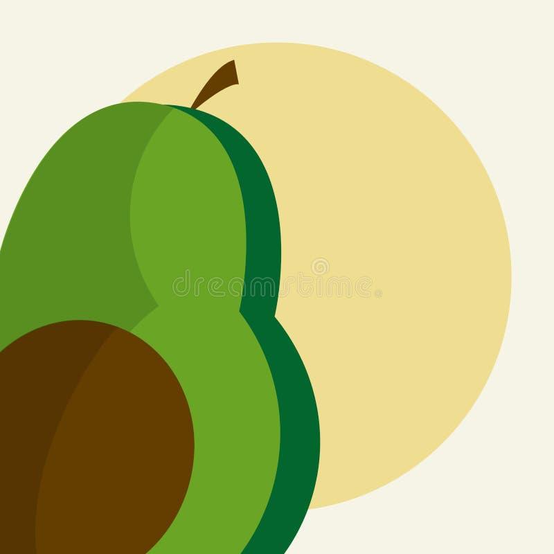 Taglio di metà dell'avocado illustrazione di stock
