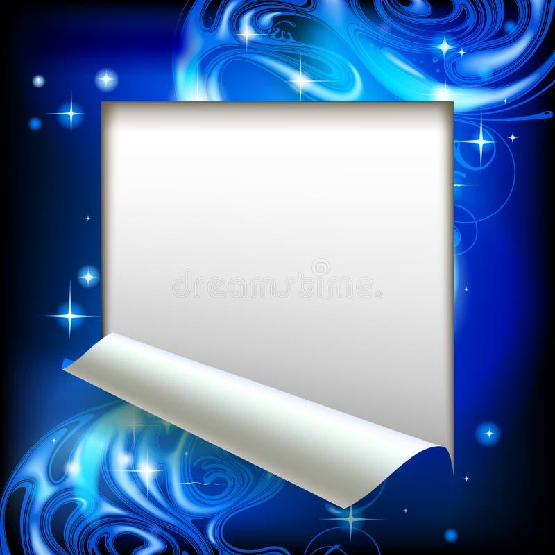Taglio di strato di carta incorniciato con un BAC luminoso astratto blu di fantasia illustrazione vettoriale