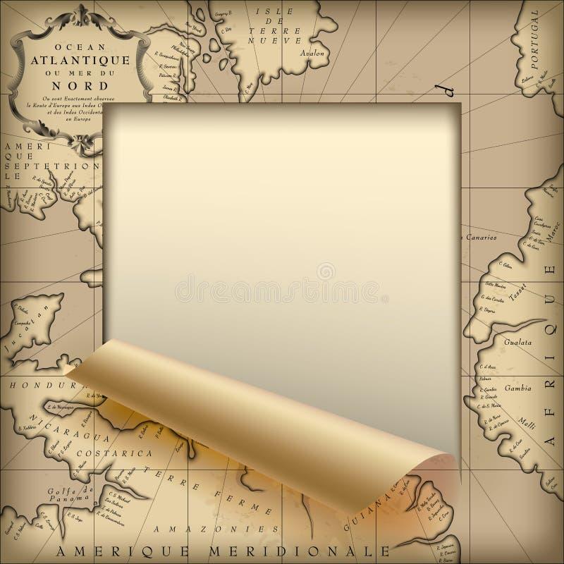 Taglio di strato di carta incorniciato e parzialmente acciambellato con vecchio geograp illustrazione di stock