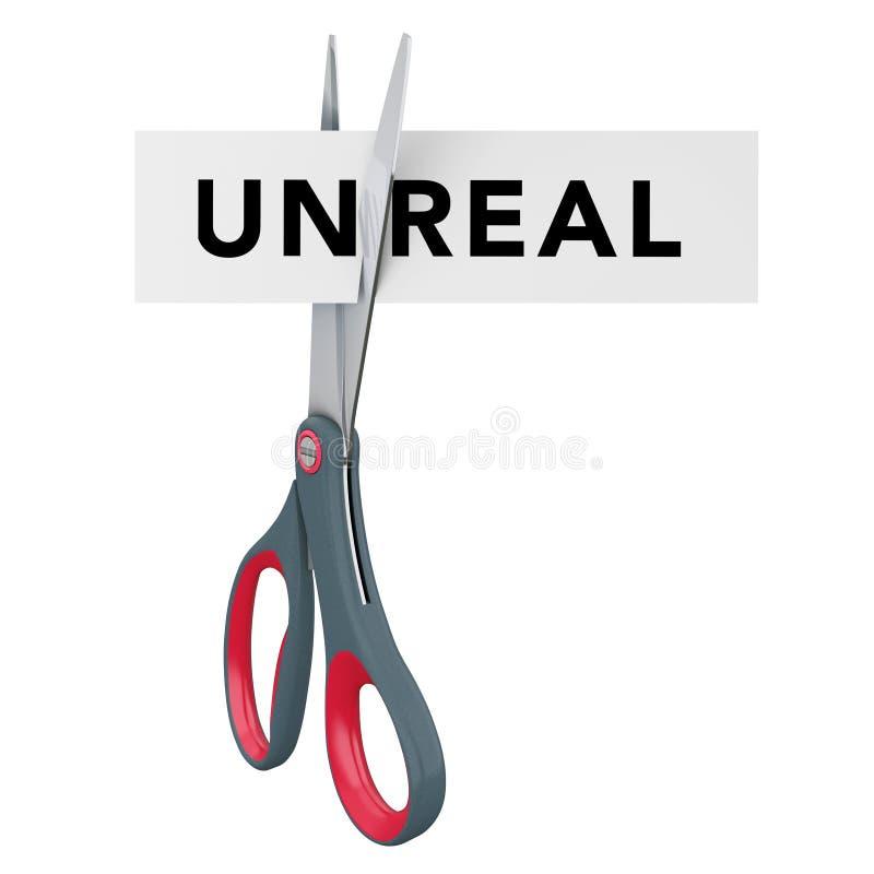 Taglio irreale al segno di carta reale con le forbici rappresentazione 3d illustrazione di stock