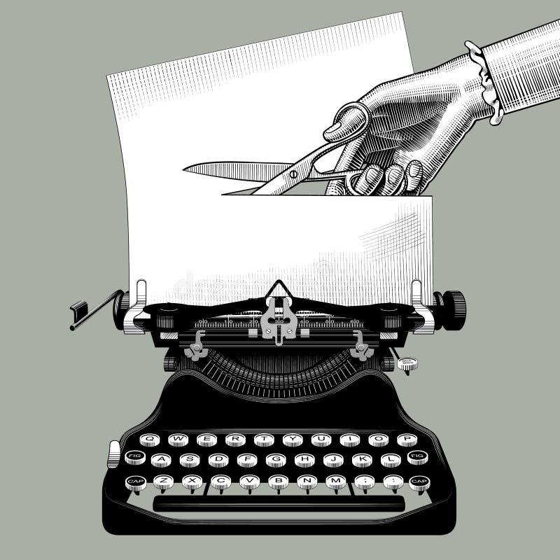 Taglio manuale del ` s della donna una carta con le forbici inserite in un vecchio illustrazione vettoriale