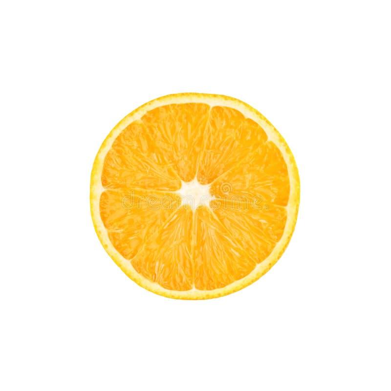 Taglio maturo dell'arancia a metà isolato sopra il bianco fotografia stock