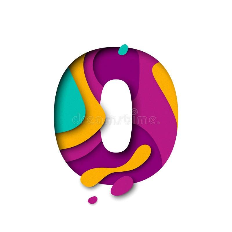 Taglio numero zero della carta 0 lettere Multi effetto realistico del papercut di strati 3D royalty illustrazione gratis