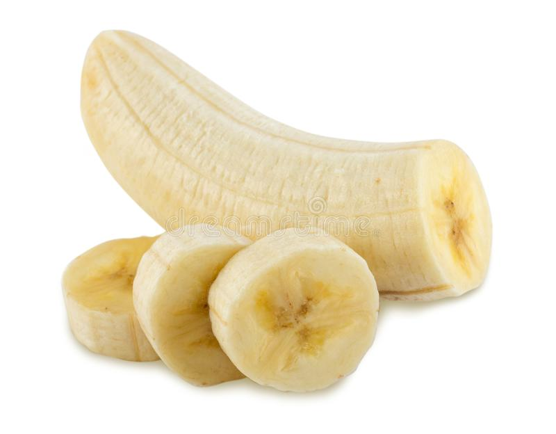 Taglio sbucciato della banana Fondo bianco, isolato fotografia stock libera da diritti