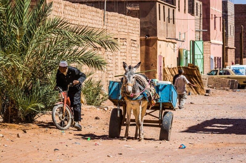 Tagounite, Marrocos - 10 de outubro de 2013 Vida na rua - asno de espera com vagão foto de stock