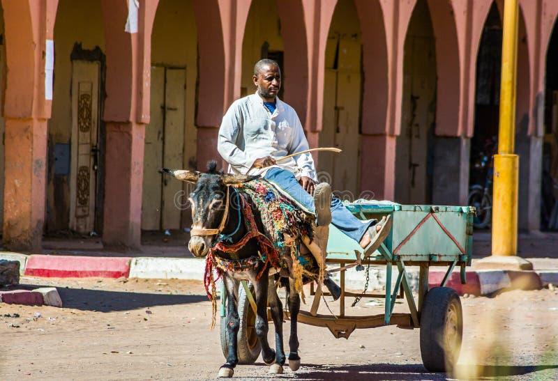 Tagounite, Marruecos - 10 de octubre de 2013 Vida en la calle - montar a caballo del hombre en el burro con el carro imagen de archivo libre de regalías