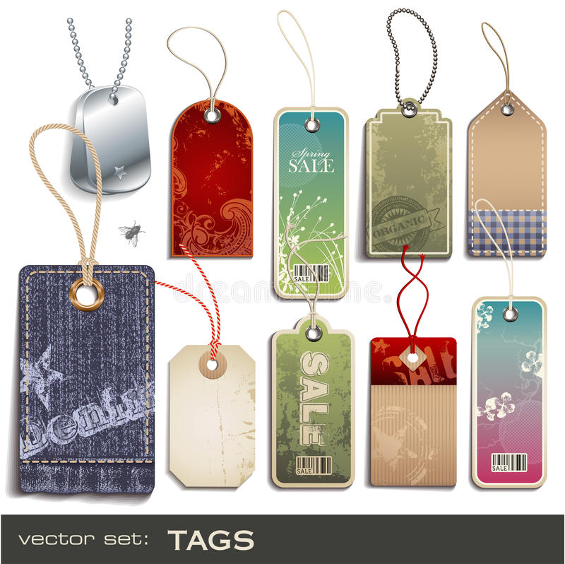 Tags. Set of different tags - 10 items