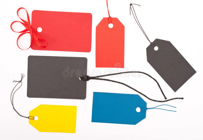 Tags. Colorful tags on white background royalty free stock photos