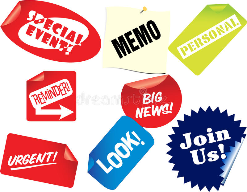 Tags With Announcement Signs Stock Photo