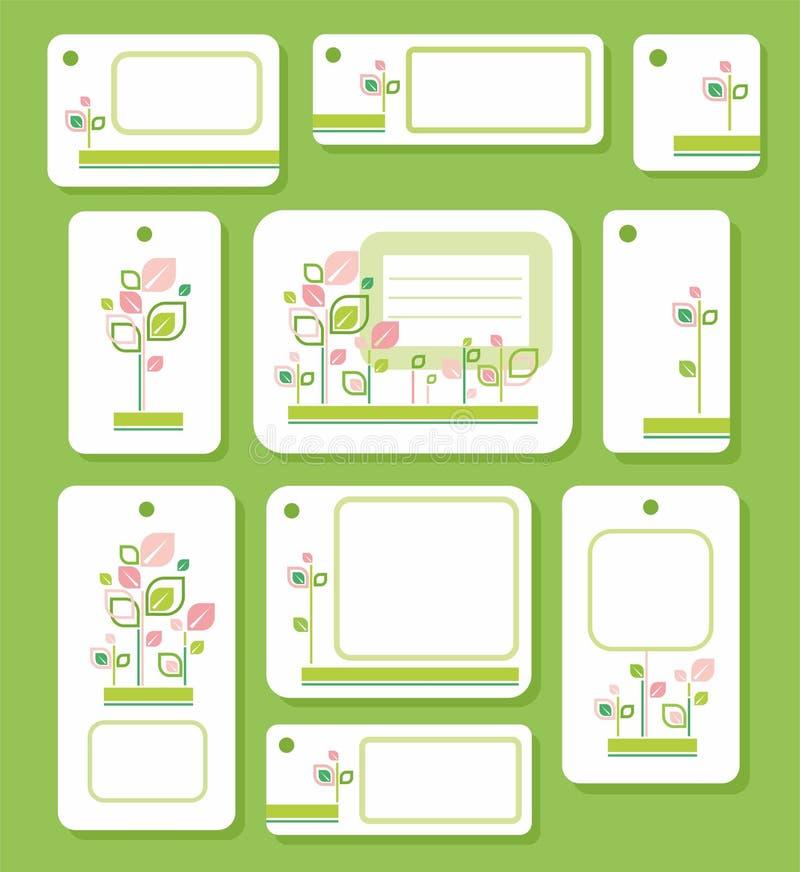 Tags, Aufkleber, Grün, Rosa verlässt auf weißem Hintergrund, Ökologie, Natur vektor abbildung