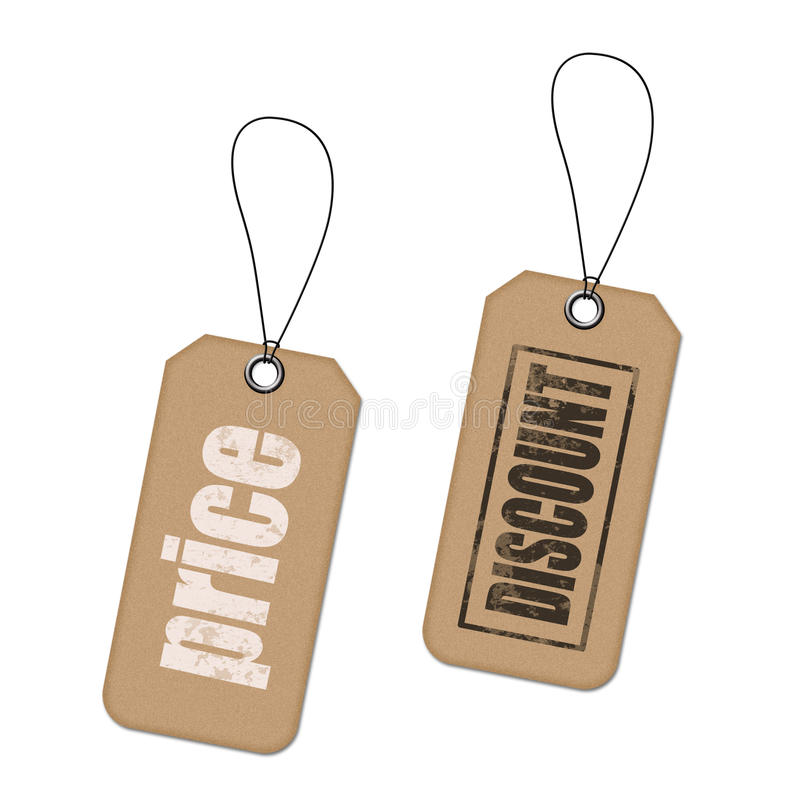 Tags. Blank label or tag isolation on white royalty free stock photo
