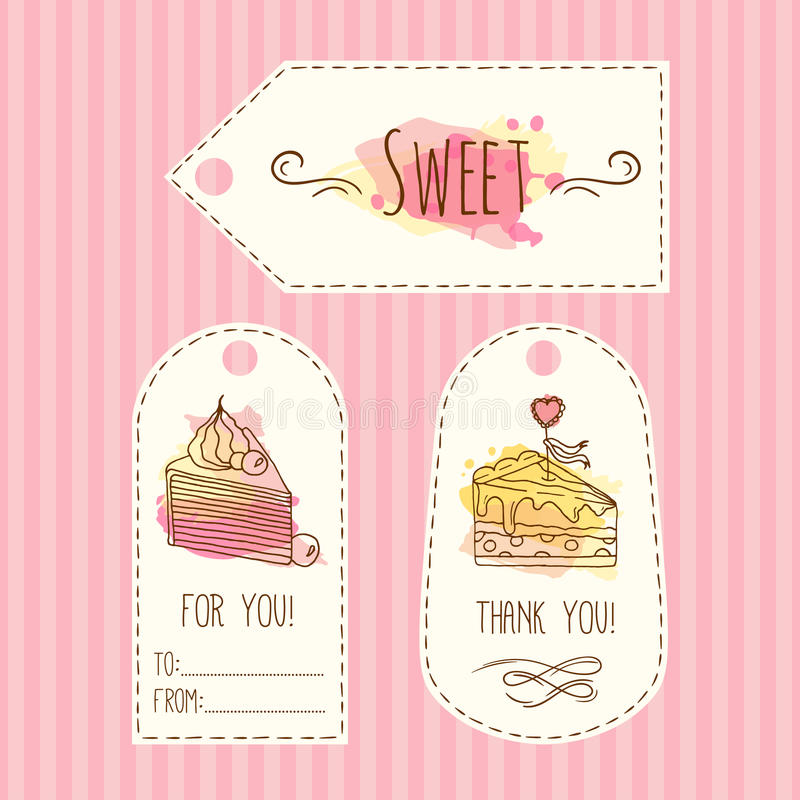 Tags with cake illustration. Vector hand drawn labes set with watercolor splashes. . vector illustration