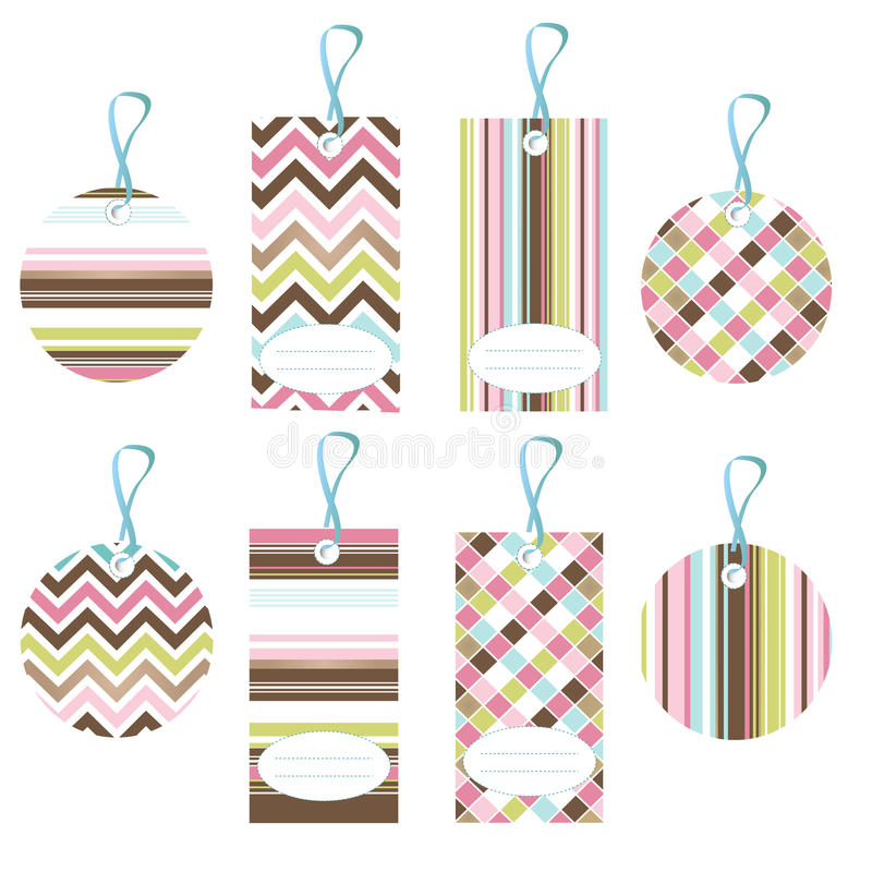 Tags, colorful seamless patterns, fabric texture vector illustration