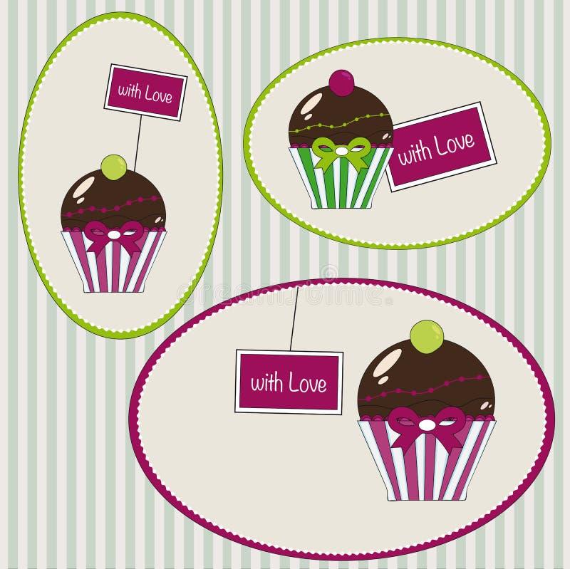 Tags der kleinen Kuchen mit Liebe lizenzfreie abbildung