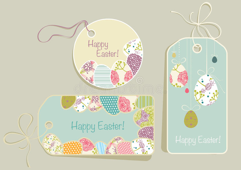 Tags on Easter theme. Greeting tags with Easter eggs