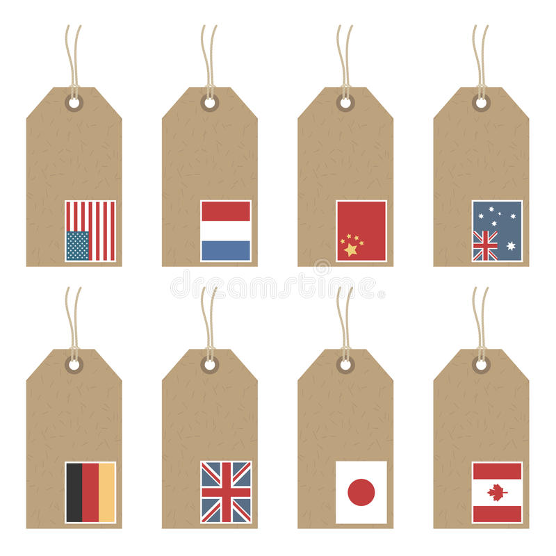 Download Tags with flags stock vector. Image of string, design - 13141654