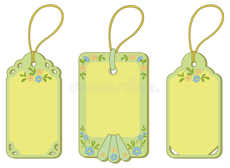 Download Tags with floral pattern stock vector. Image of object - 23357755