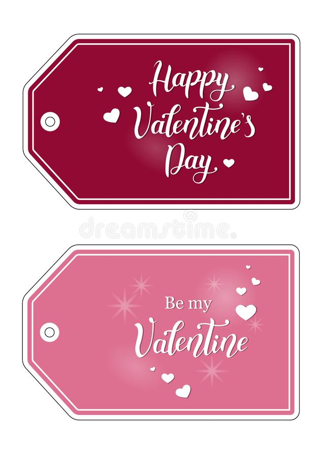 Tags for gift or bunch of flowers with hand drawn calligraphy lettering of Happy Valentine`s day and Be my Valentine vector illustration