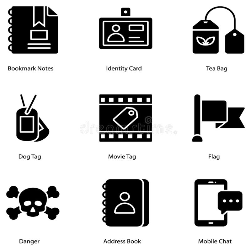 Tags Glyph Icons vector illustration
