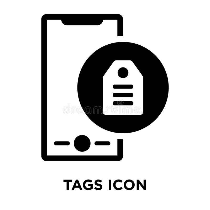 Tags icon vector isolated on white background, logo concept of T stock illustration