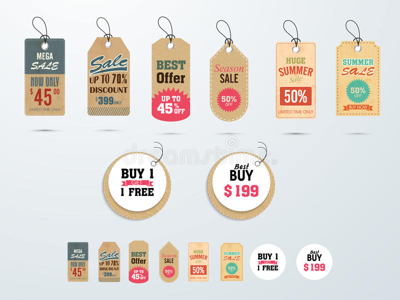 Tags or labels for Mega Sale with discount offer. Set of Mega Sale tags or labels design with best discount offers vector illustration
